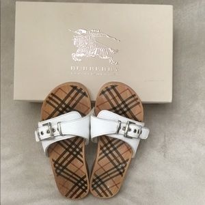 Burberry white wooden sandals